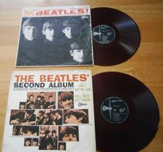 Two of the FIRST RED WAX Beatles of Japan:  Meet The Beatles! Odeon ‎– OR 7041  and Beatles' Second Album Odeon ‎– OR 7058