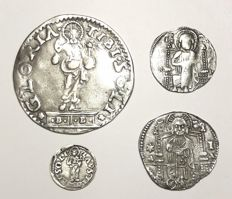 Venise - lot of 4 coins 13th-16th century - silver