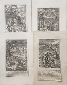 4 prints by an unknown artist - Biblical scenes - 17th/18th century