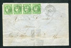 France 1871 - Goms in Ouche to Rouen letter - Dark green border number 42B
