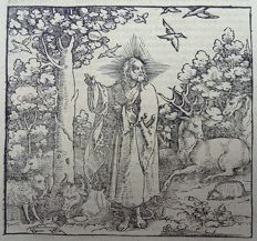 Hans Leonhard Schäufelein [1480-1540] - Illustrated post-incunabula leaf - Christ in the Garden of Eden - 1544