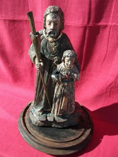 Polychrome wooden sculpture depicting St. Joseph with Child - Southern Italy - 18th century
