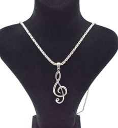 925 Italian sterling silver chain with  Key pendant - 62 cm