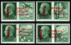 Italy, 1944 – RSI, Propaganda specimen stamps, complete series of 4 values – Sass. No. P1/P4