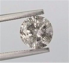 1.59 carat  - G color  - I1 clarity  - Natural Round Brilliant Cut Diamond - With AIG Certificate + Laser Inscription On Girdle