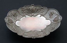 Antique Silver Plated Oval Footed Bowl, Continental, Early 20th Century