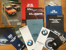 16 BMW automobile brochures from the 1970s and 1980s - BMW 316, 318, 318i, 320, 320i, 323i, 728, 730, 733i