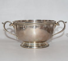 Silver Cup smooth body with stylised handles - Adie Brothers Ltd-Birmingham-1957-58
