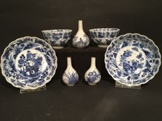 A collection of 7 pieces of Chinese blue white porcelain - China - around 1700 / 1720 (Kangxi period)