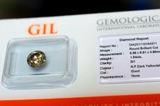 1.54 ct brilliant cut diamond, natural fancy DARK yellowish green - G/VG/VG - SI1 - VERY LOW RESERVE PRICE