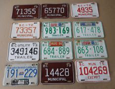 Lot of 12 tin Trailer Number/License plates from Canada - 2nd half 20th century