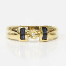 18 kt yellow gold ring with diamond and sapphires - size: 18 mm 17/57 (EU)