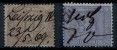 North German Federation 1868 - 1870 - office service stamps and stamps from Alsace/Lorraine - Michel 2017 no. 25 + 26 and Okk.  No. 1-7