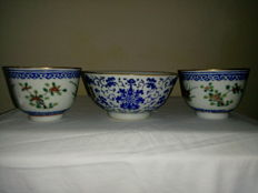 Family rose cups and a bowl - China - late 19 century