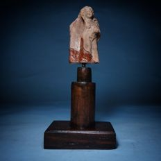 Winged Male Erote Fragment - Terracotta on Plaster and Wood Mount - Total Mounted Size 15.5 x 7cms