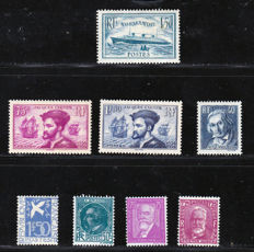 France 1934/1936 – Selection of 8 stamps – Yvert no. 291, 292, 293, 294, 295, 296, 297 and 300.