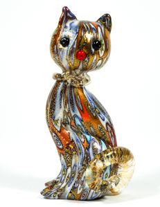 LivioCampanella (Murano) - Millefiori Murrina Cat Sculpture