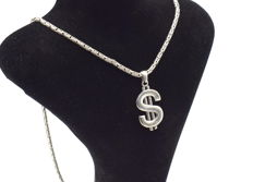 925 Italian sterling silver chain with  Dolar $ pendant - 62 cm