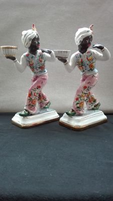 Pair of Polychrome Ceramic Moors