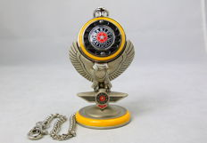 Franklin Mint - Harley Davidson Fatboy pocket watch with an eagle base.