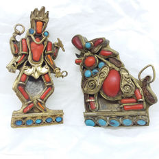 1930s Nepalese Dancing Figure Brooch and  vintage Oriental Chinese/Tibetan Foo Lion Dog Brooch with with natural red coral and turquoise gemstones