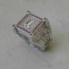 Julius Caesar Ring - Massive 18.29gs sterlin silver - 1.21cts Ruby - Size 8 US