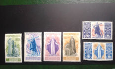 "Italy, Republic, 1948 – ""6th centenary of the birth of St. Catherine"" series – Sass. No.  574/577 and A146/A147"