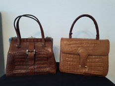 Lot.  2 genuine crocodile vintage women's handbags 1969s-1970s