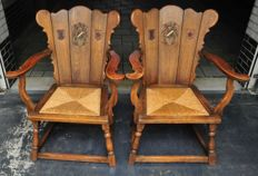 Two gentlemen's chairs with coat of arms of Drenthe province, ca. 1900