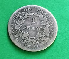 France - 1 Franc An 14 A (Paris) - Napoléon I - argent