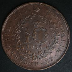 Azores – Portugal Monarchy – D. Luís I – 10 Réis 1865 – Copper
