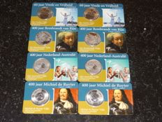 Nederland + 5 Euro Coincards Silver  2005 – 2007 (8 coins in total) Original Knm