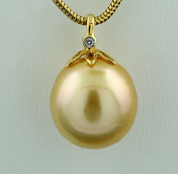 South sea pearl and brilliant pendant golden south sea pearl 13 south sea pearl and brilliant pendant golden south sea pearl 13 mm 750 yellow aloadofball Image collections