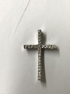 Cross pendant in 18 kt white gold with diamonds for a total of 0.30 ct, colour G, VVS