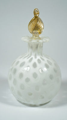 Livio Campanella (Murano) - White Bottle with Murrine