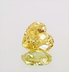 Heart Cut  - 0.51 carat - Natural Fancy VIVID Yellow - VS1 clarity- Comes With AIG Certificate + Laser Inscription On Girdle