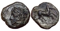 Greek Antiquity - North Africa, Zeugitania, Carthage c. late 4th-early 3rd century BC, Time of Siculo-Punic - Æ (Bronze, 16/15mm, 3,87g.) - Head of Tanit / Horse - SNG Cop. 1022