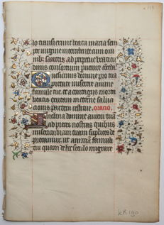 Manuscript; Beautiful original leaf from a manuscript - 15th century