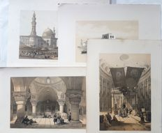 4 prints by David Roberts (1796 – 1864) - Various views on Ancient Monuments and Landscapes - 19th century