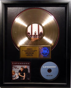 Lifehouse - Who we are - real US RIAA Gold Award goldene Schallplatte - original Sales Music Record Award ( Golden Record )