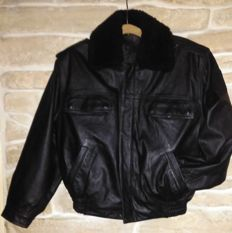POLIZEI LOT- Police motorcycle leather jacket - M size - authentic military item, made in GERMANY + Policeman long sleeves shirt
