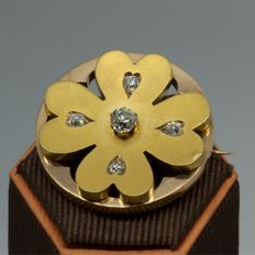Elizabethan brooch 18 kt gold with antique cut diamonds in clover 4 shape