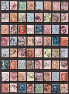 Great Britain, Queen Victoria - Collection of 64 Surface Printed and Line Engraved Stamps on Stock Page