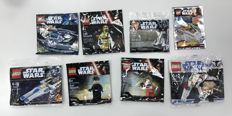 Star Wars - 8031 + 30055 + 30496 + 40268 + C-3PO + First Order General + Rebel A-Wing Pilot + Snowspeeder Limited Edition - Rare Polybags