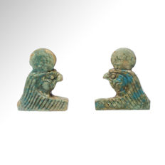 Two Egyptian Faience Necklace Terminals, Heads of Falcon Horus,  2.8 cm H