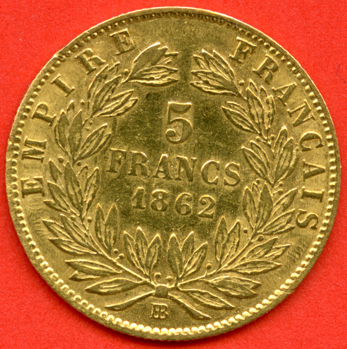 France - 5 Francs 1862 BB (Strasbourg) - Napoleon III - Gold
