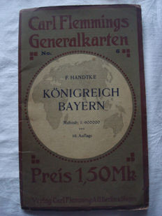 "German Empire; Original vintage map, Carl Flemming's general map no. 6 ""Königreich Bayern"" circa 1900"