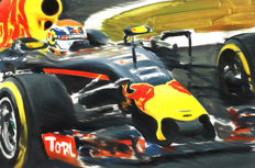 Max Verstappen Red Bull Racing RB13 TAG Heuer F1 2017 Car ORIGINAL Oil Painting on Canvas hand-made by Artist Andrea Del Pesco + COA.