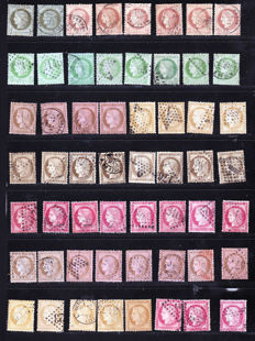 France 1876/1877 - Colour study, stamps and cancellation varieties on Cérès - Between Yvert 50 and 59.