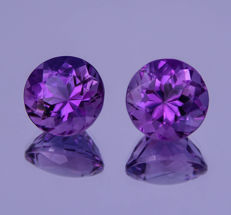 Amethyst pair - Purple - 12.94 ct total